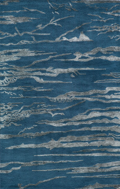 Momeni Zen Cobalt Blue/Grey Waves Contemporary 2u00273