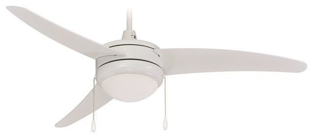 Modern Ceiling Fan, White With Light Kit.