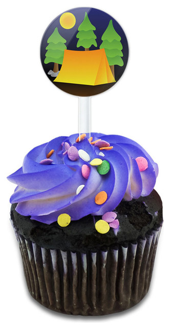 Tent Camping Nature Tree Cupcake Toppers Picks Set.