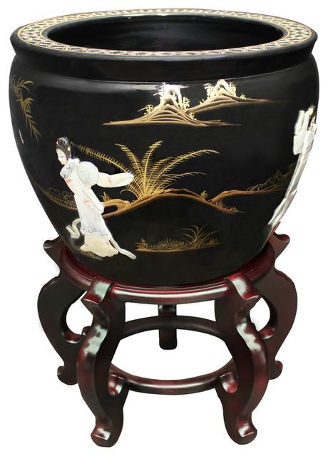 "Oriental Furniture 16/"" Red Landscape Fishbowl"