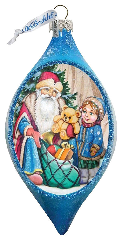 Hand Painted Toy Bag Glass Ornament Drop Traditional Christmas Ornaments By G Debrekht