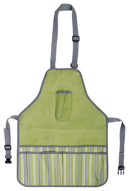 Superior Garden Apron, Green With Stripes Contemporary Gardening Accessories