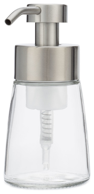 Small Glass Foaming Soap Dispenser With Metal Pump, Stainless, Stainless by Rail19