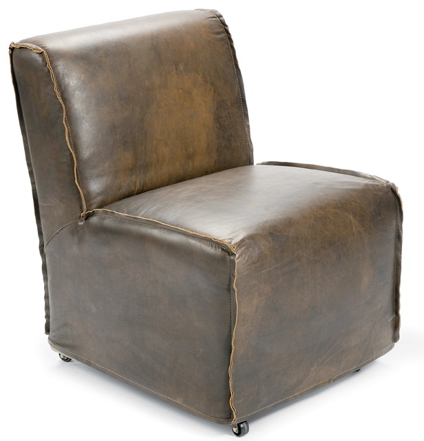 Kilgore Industrial Loft Vintage Leather Slipcover Rolling Chair