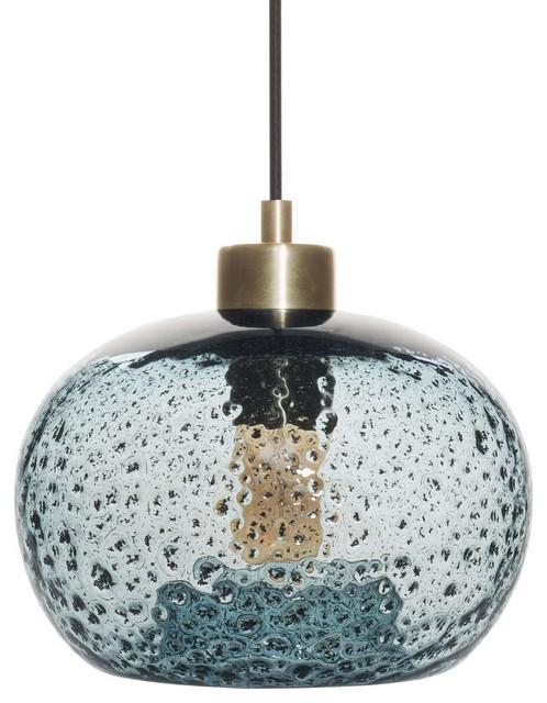 Mini Pendant Light Handblown Rustic Seeded Glass Hanging Light, Blue