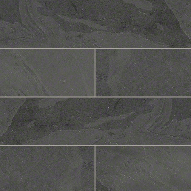 Slate And Dark Grout : Gauged montauk black slate tile traditional wall and