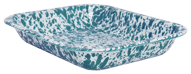 Crow Canyon Small Roasting Pan, Turquoise On White Marble, Splatterware.