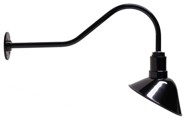 Gooseneck Barn Light With Angled Steel Reflector Farmhouse Outdoor Wall  Lights And