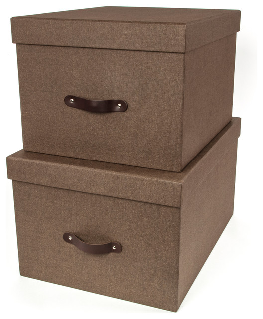 Tore Set Of 2 Nested Lidded Boxes W/ Leather Handles Canvas, Canvas Dark Brown C.