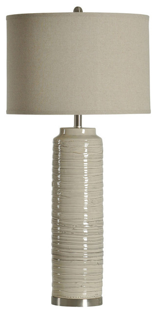 Ceramic Table Lamp, Off-White Finish, White Hardback Fabric Shade
