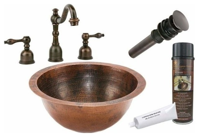 Undermount Round Copper Sink W/orb Faucet.