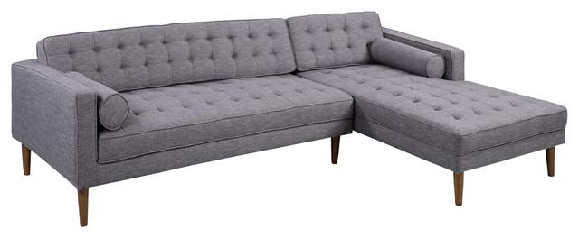 Astounding Element Right Side Chaise Sectional Dark Gray Linen And Walnut Leg Ncnpc Chair Design For Home Ncnpcorg