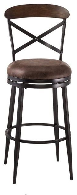 Henderson Swivel Counter Stool, Black/brown Finished Wood Top.