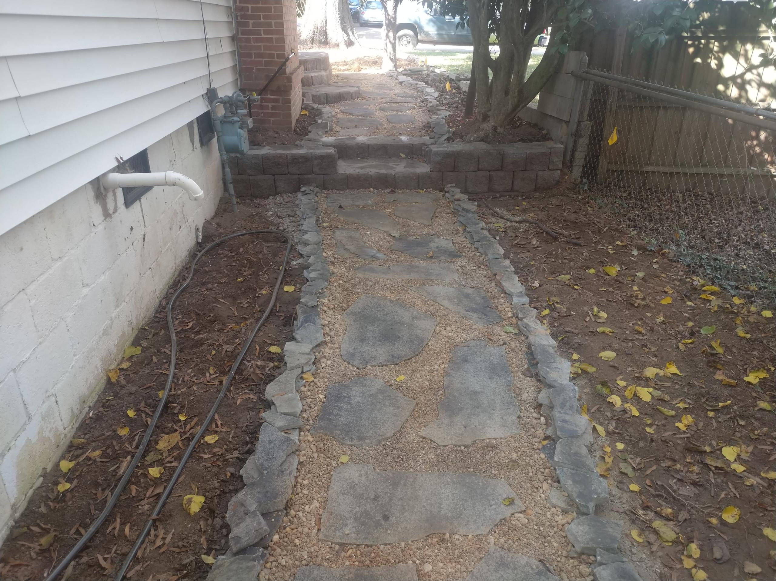 Flagstone sidewalk,, walkway, patio, retaining wall