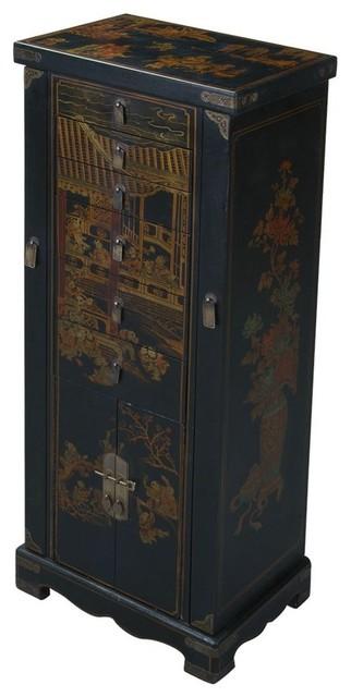 Handmade Oriental Antique Style Black Jewelry Armoire Asian