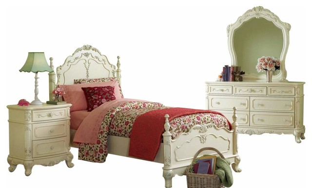 Cinderella 1386T 5-Piece Youth Traditional Bedroom Set, Ecru White, Full