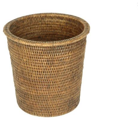 Shop Houzz Baolgi Rattan Small Rimmed Waste Basket Bathroom Accessories