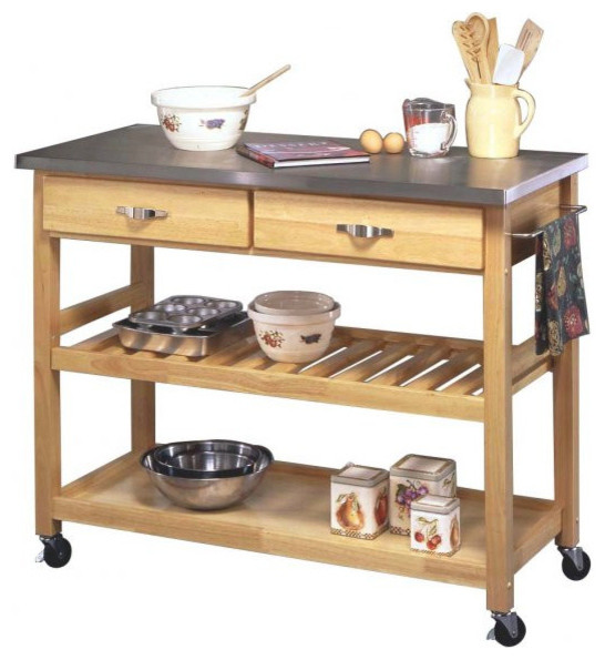 Natural Designer Utility Cart With Stainless Steel Top Industrial Kitchen  Islands And