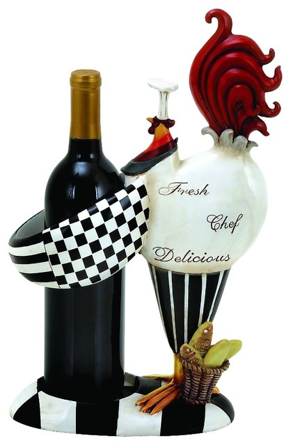 Rooster Chef Style Statue Wine Bottle Holder Black White Home Decor 20617
