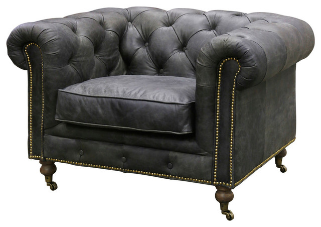 Cromwell Chair, Tufted Vintage Leather, Gray With Metal Caster Feet