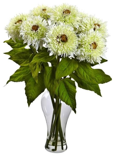 Sunflower Vase Arrangement In White Contemporary Artificial