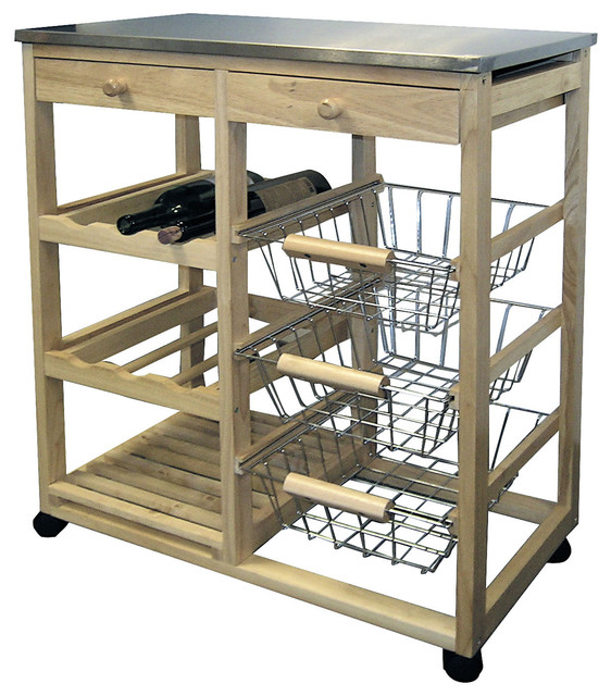 32 Tall Wooden Kitchen Utility Cart On Wheels W Drawers Shelves And Storage Transitional Islands Carts By Ore International