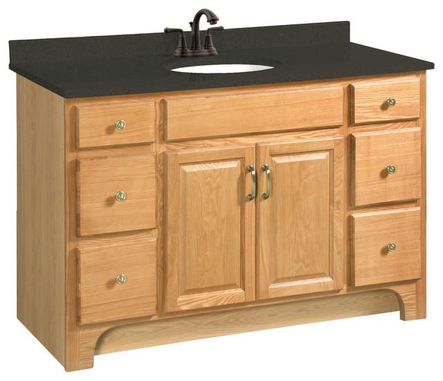 Richland 48 x21 vanity 2 door 4 drawer nutmeg oak finish Bathroom vanity storage organization