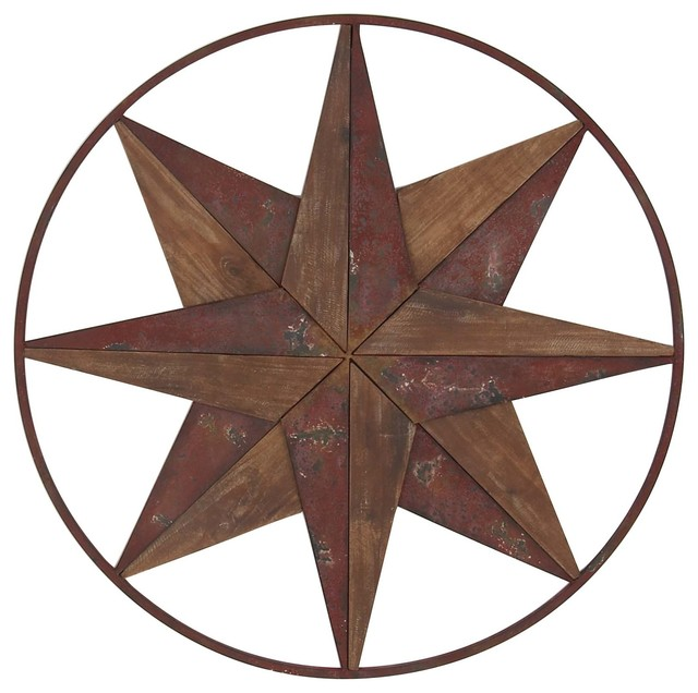 Eclectic Wood And Iron Round Framed 8 Point Star Wall Decor
