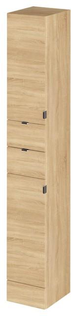 Shirley Tall Wall-Mounted Bathroom Cabinet, Natural Oak