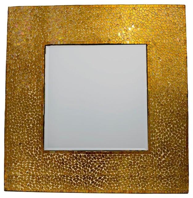 Enchanting Square Mosaic Patented Mirror, Gold.