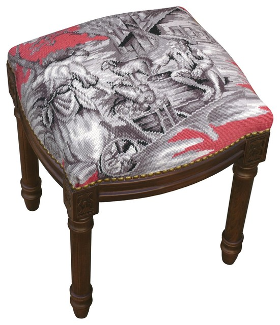Vanity Stool Country Toile Wood Stain Traditional