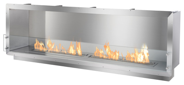 "78.5"" Single-Sided Ethanol Burning Firebox Fireplace Wall Insert."