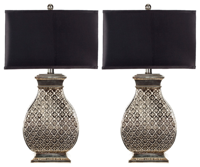 Safavieh Table Lamps With Satin Rectangular Shades Set Of 2 Black