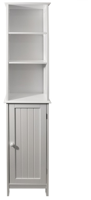 American Cottage Tall Bathroom Cupboard With Display Shelves, White