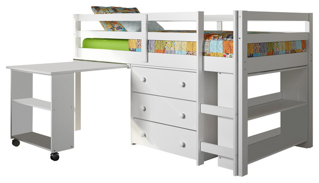 Whitney Bunk Bed And Study Desk, Twin, White.