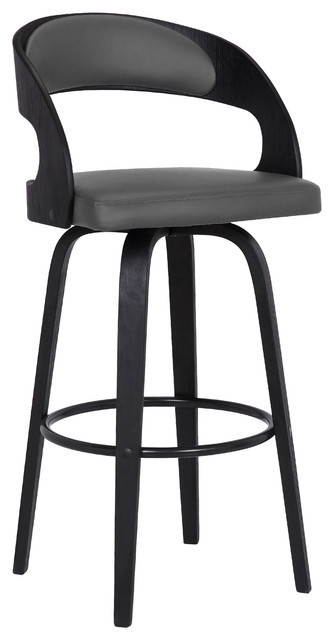 Astounding Leaver 26 Swivel Counter Stool Black Brush Wood Finish And Gray Faux Leather Pdpeps Interior Chair Design Pdpepsorg