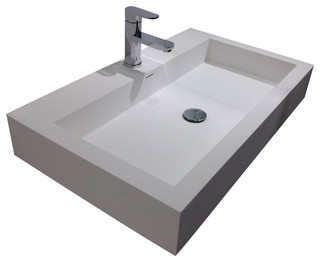 Adm Adm White Wall Hung Stone Resin Sink Amp Reviews Houzz