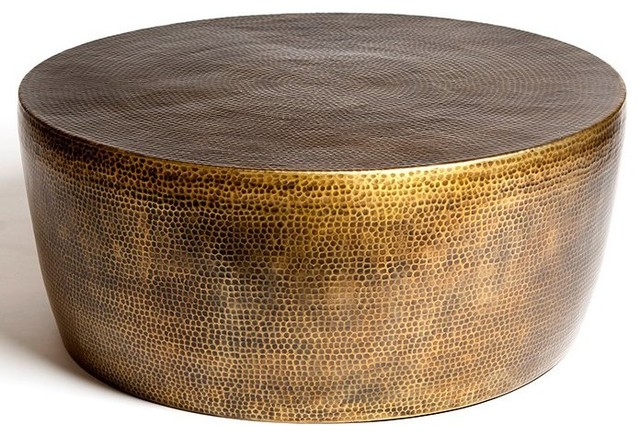 Studio A Home Izmir Hammered Brass Transitional Cocktail Table