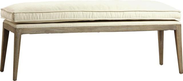 Jordan Ecru Oak Wood Legs Polyester Bench.