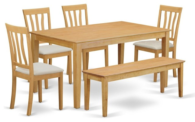 6 Pc Table And Chair Set Kitchen Table And 4 Kitchen Chairs Plus Wooden Bench