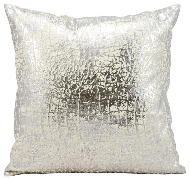 """Kathy Ireland Metallic Snake Skin Silver Throw Pillow, 7""""x7"""""""