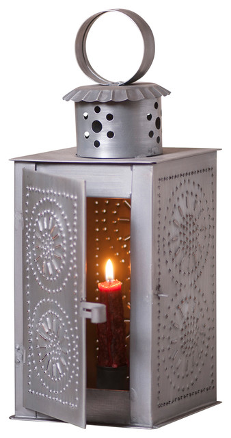 Watchman's Lantern in Antique Tin