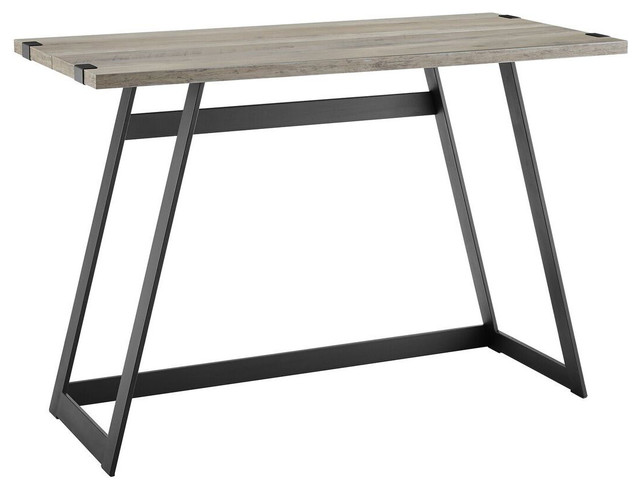 "We Furniture 42"" Metal Wrap Writing Desk, Gray Wash."