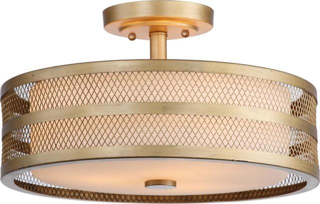 """Safavieh Greta 3-Light Antique Gold 15.75"""" Diameter Veil Semi Flush Antique Gold"""