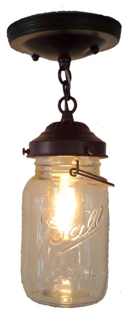 Bathroom Light Fixture Pull Chain mason jar ceiling light with chain and vintage quart - farmhouse