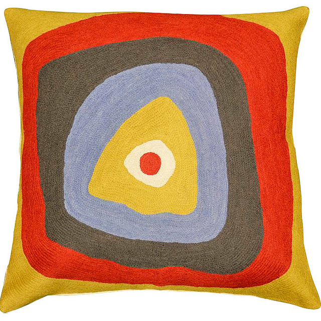 """Kandinsky Pillow Cover Ruby Square Needlepoint Hand Embroidered 18"""" X 18""""."""