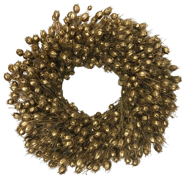 "Gold Nigella Wreath, 30""."
