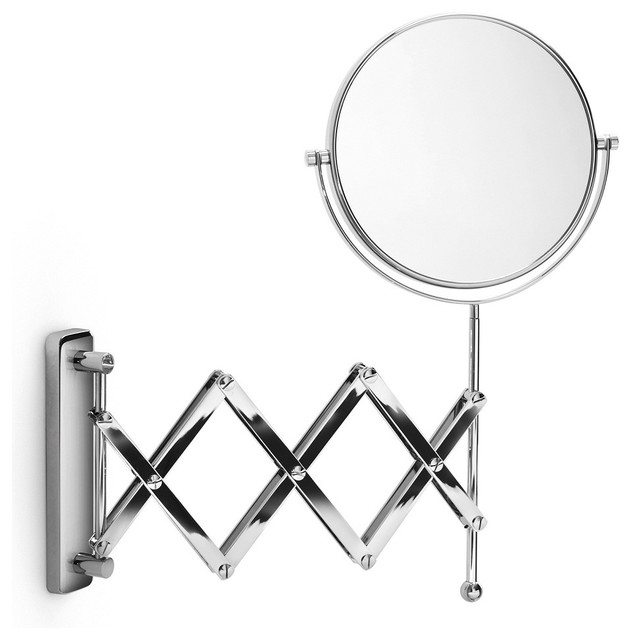 Bathroom Mirror Magnifying mevedo polished chrome 3x magnifying mirror - contemporary