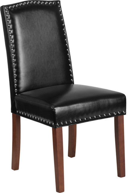 Hercules Hampton Hill Series Black Leather Parsons Chair With Silver Nail Heads.