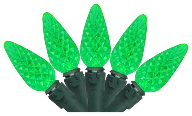 Set Of 70 Green Led C6 Christmas Lights.